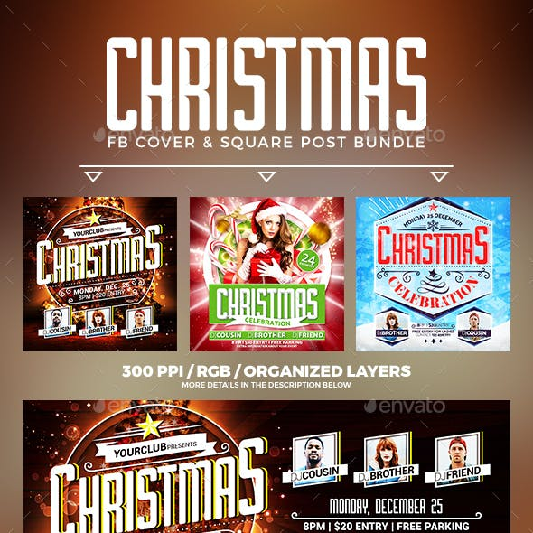 Christmas Party Facebook Cover Bundle