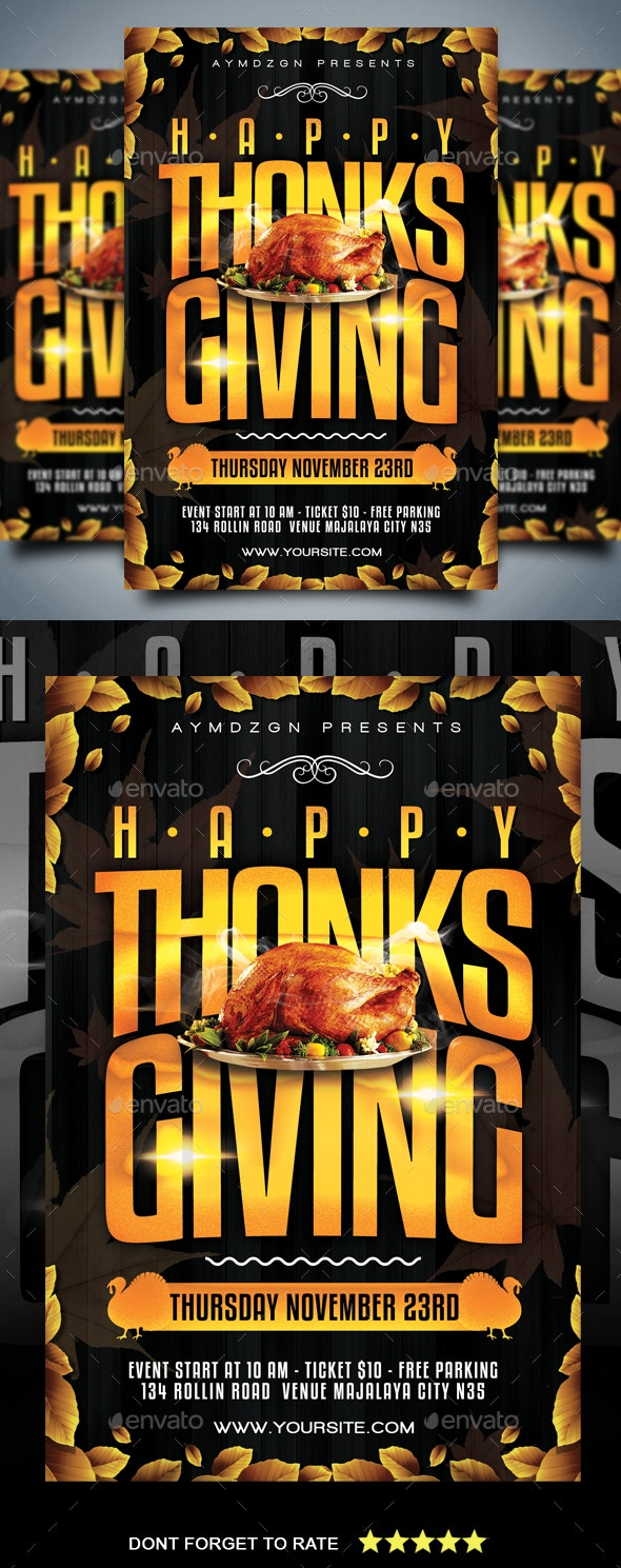 Happy Thanksgiving Flyer - Holidays Events