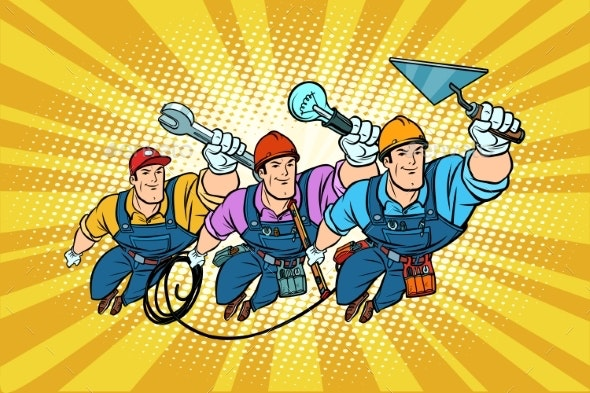 Set Electrician Builder and Repairer Professionals - People Characters