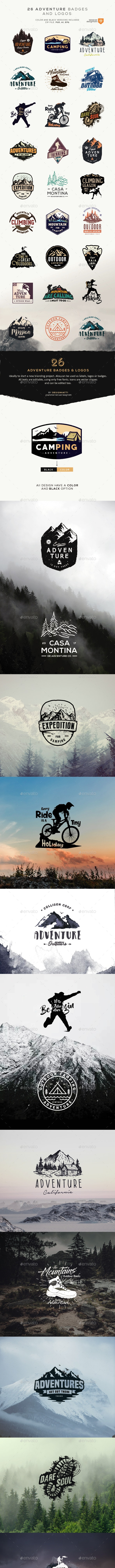 26 Adventure Badges and Logos - Badges & Stickers Web Elements