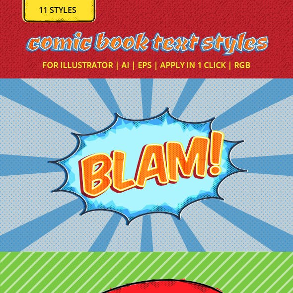 Retro Comic Book Text Styles for Illustrator