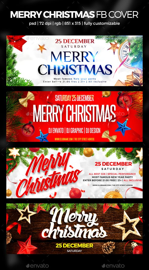 Merry Christmas Facebook Cover By Maksn Graphicriver