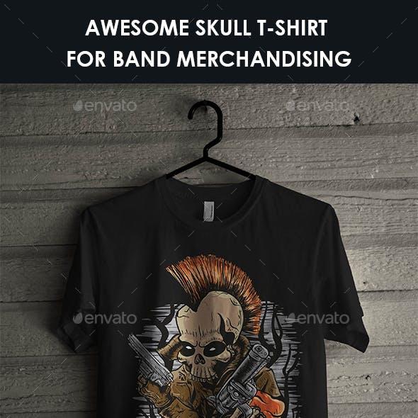 Skull T-Shirt Design With Punk Skull Illustration