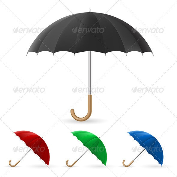 Realistic umbrella in four colors - Man-made Objects Objects