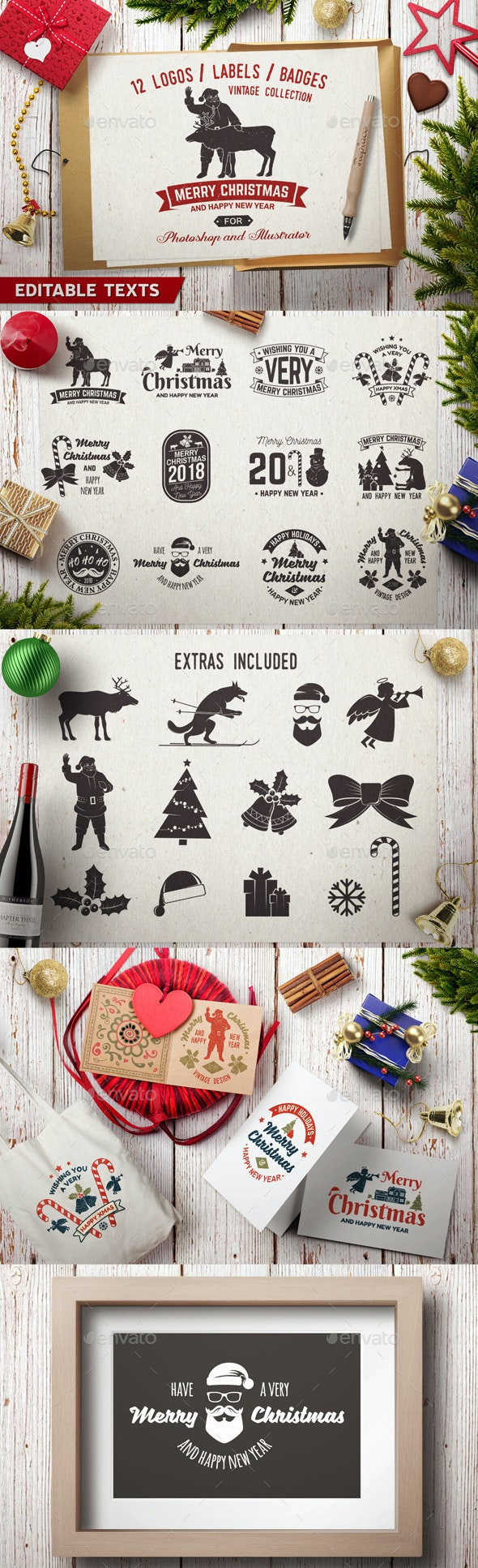 Merry Christmas and Happy New Year Collection - Badges & Stickers Web Elements