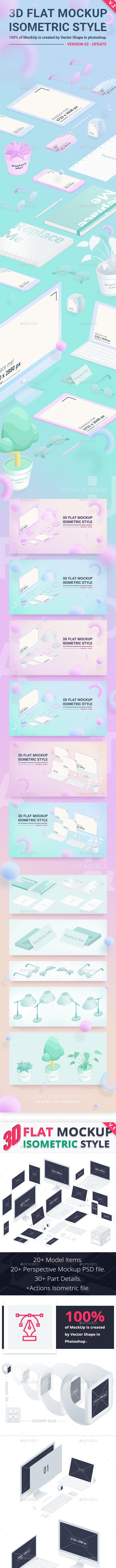 3D Flat Mockup Screen - Isometric -Version 2 - Product Mock-Ups Graphics