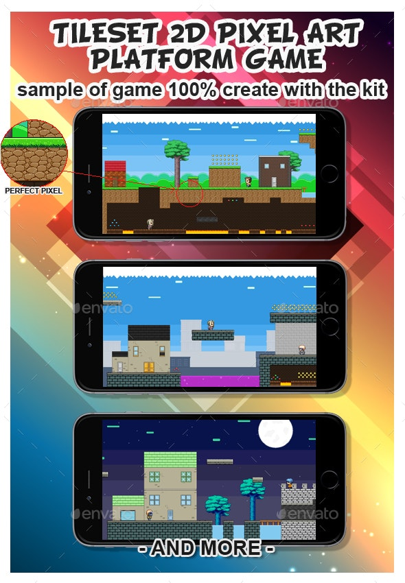 2D platformer Game Pixel Art Tile set