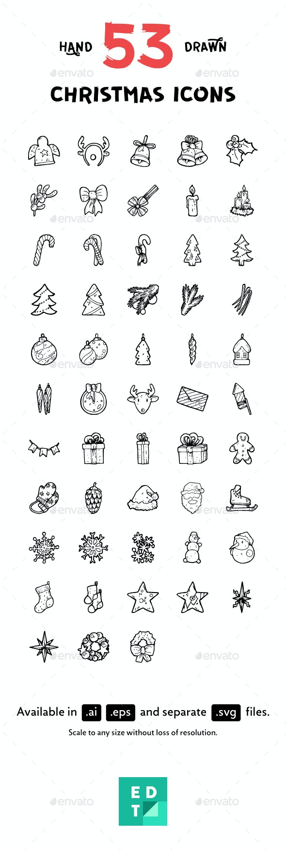53 Christmas Hand-Drawn Icons - Seasonal Icons