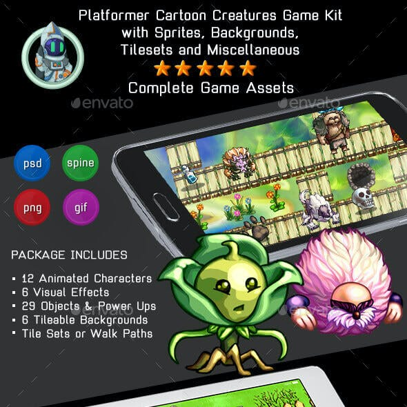 2D Cartoon Creatures Game Kit 1 of 3 w sprites, backgrounds & more