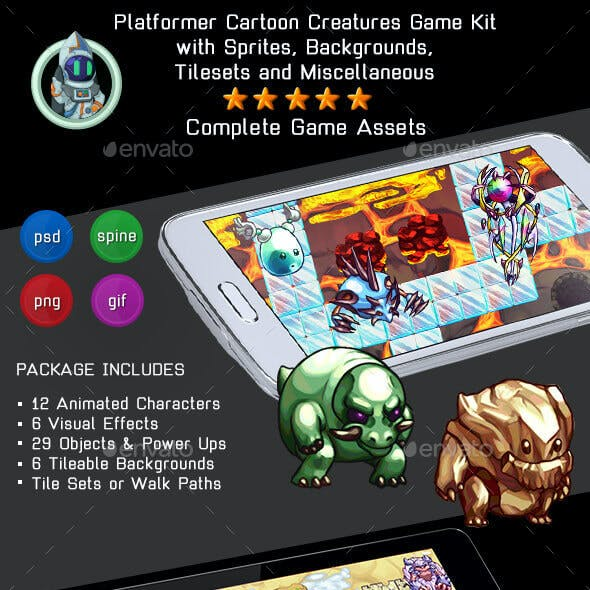 2D Cartoon Creatures Game Kit 2 of 3 w sprites, backgrounds & more