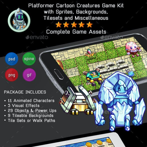 2D Cartoon Creatures Game Kit 3 of 3 w sprites, backgrounds & more