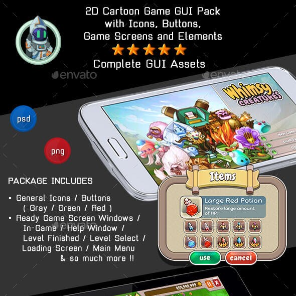 2D Cartoon Game GUI Pack with complete ready game screens and more