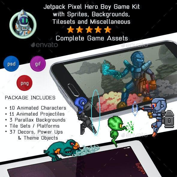 8-Bit Platformer Jetpack Pixel Hero Boy Game Kit 1 of 2