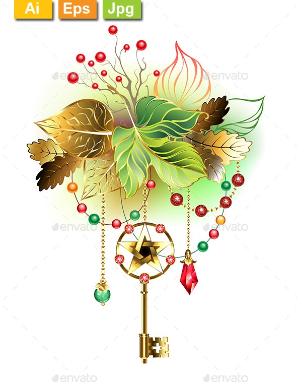 Mysterious Key with Autumn Leaves - Decorative Symbols Decorative