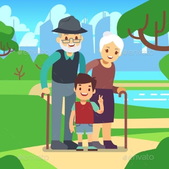 Cartoon Older Couple with Grandson in Park