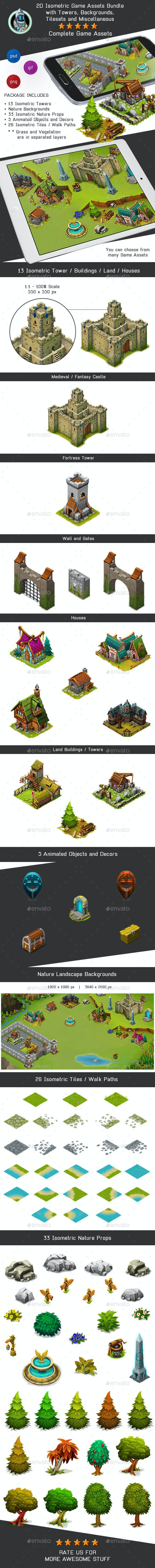 Isometric Game Kit 2 of 3 - Towers, Background, Tilesets & more - Game Kits Game Assets