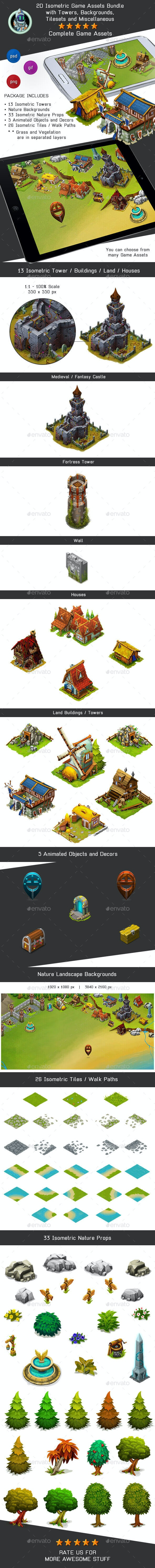 Isometric Game Kit 3 of 3 - Towers, Background, Tilesets & more - Game Kits Game Assets