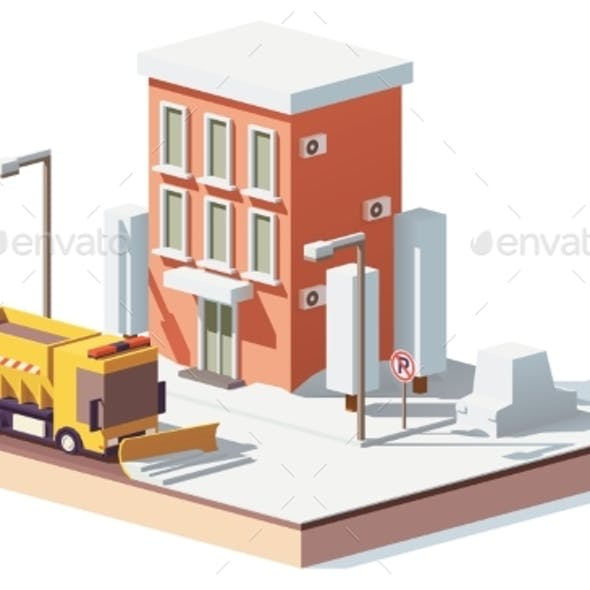 Vector Low Poly Snowplows Working in the City