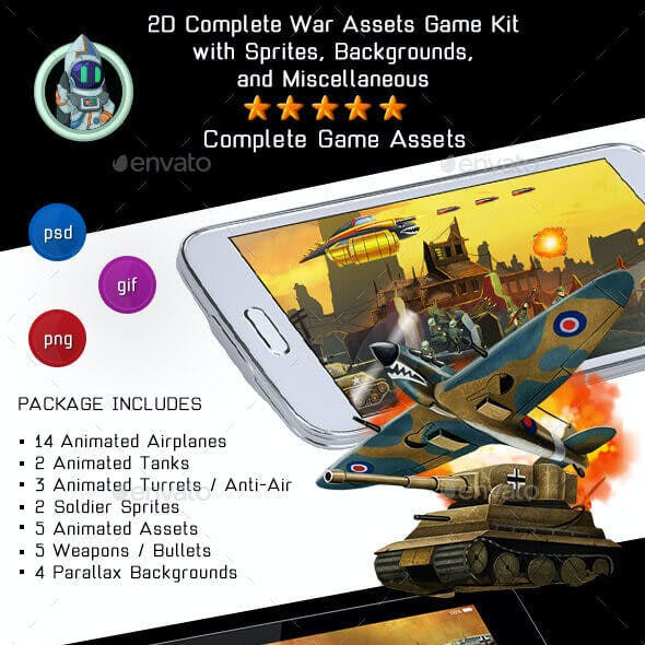 2D Complete War Assets Kit 1 of 2 - Airplanes, Tanks & more