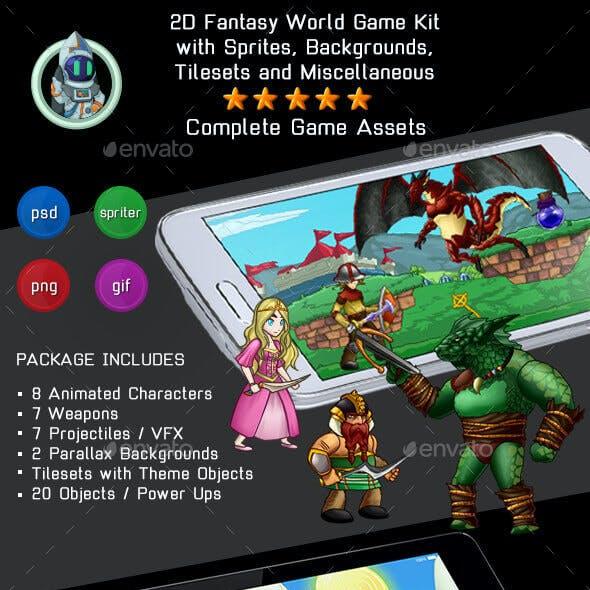 2D Platformer Fantasy Game Kit 2 of 3 - Sprites, Backgrounds & More