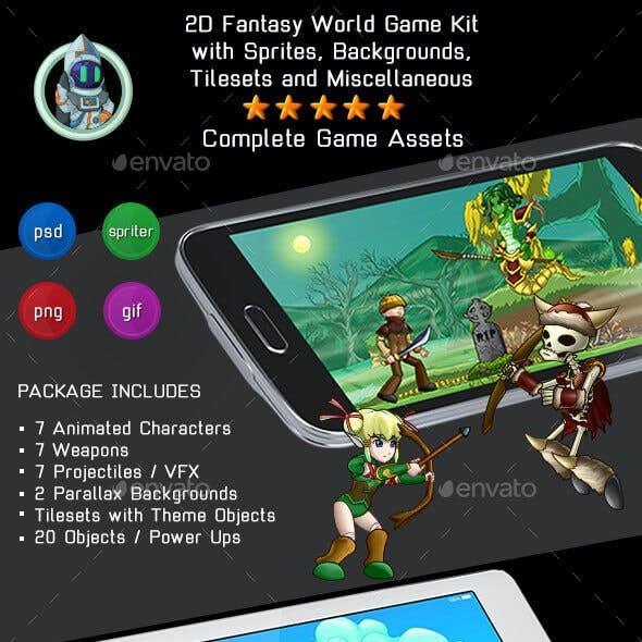 2D Platformer Fantasy Game Kit 3 of 3 - Sprites, Backgrounds & More