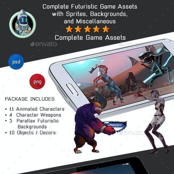 2D Platformer Futuristic Game Kit 1 of 3 - Aliens, Robots & Zombies