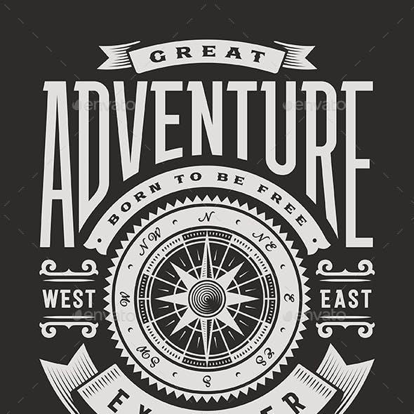Vintage Great Adventure Typography on Black Background