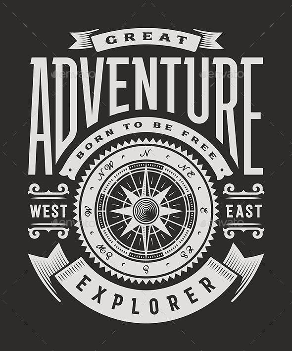 Vintage Great Adventure Typography on Black Background - Decorative Symbols Decorative