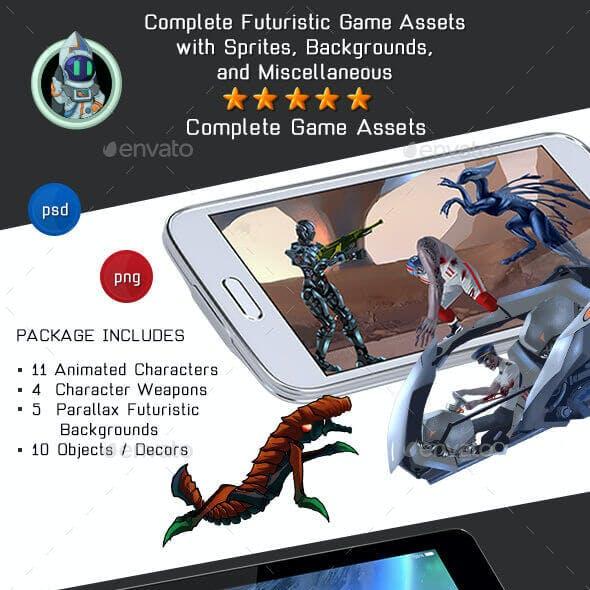2D Platformer Futuristic Game Kit 3 of 3 - Aliens, Robots & Zombies