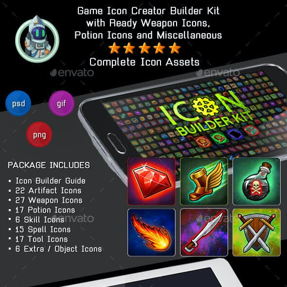 Game Icon Creator Builder Kit - Weapon, Skill, Potion Icons & more