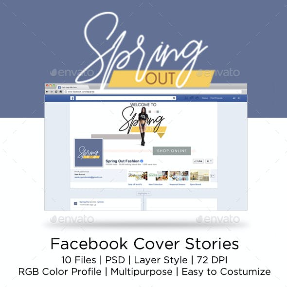 PSD-Facebook Cover Spring Fashion Stories