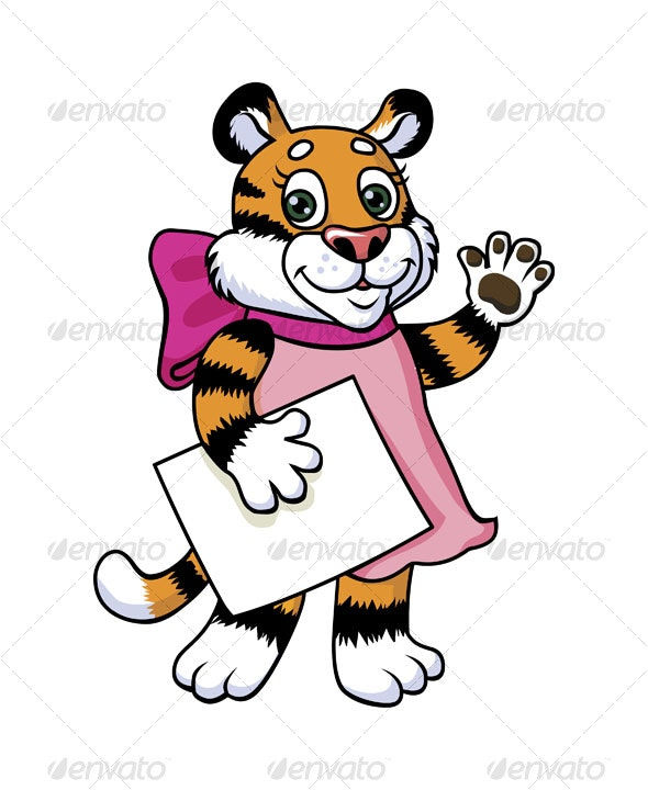 "Tiger kitten saying ""Hi!"" - Animals Characters"
