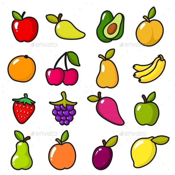 Collection of Fruits in Cartoon Style - Food Objects