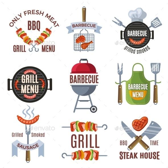 Colored Labels Set for BBQ Party - Decorative Symbols Decorative