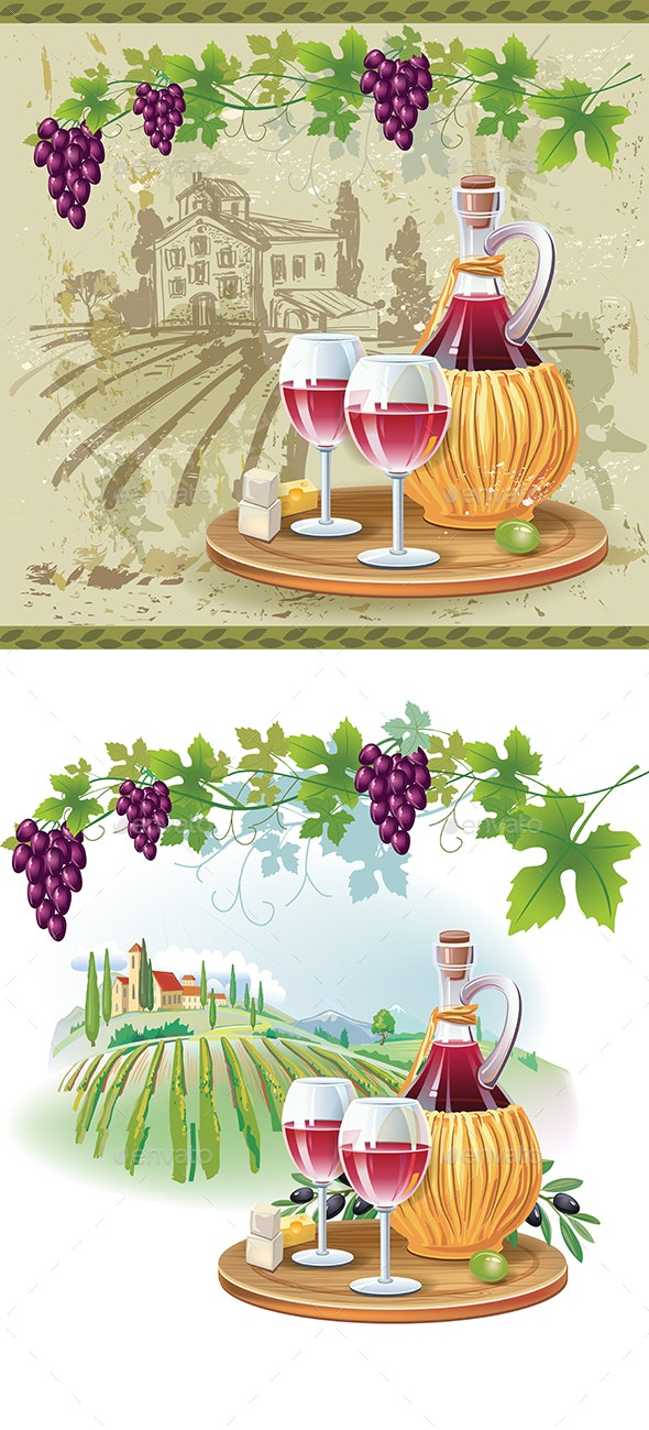 Wine Glasses and Bottle in Vineyard - Food Objects