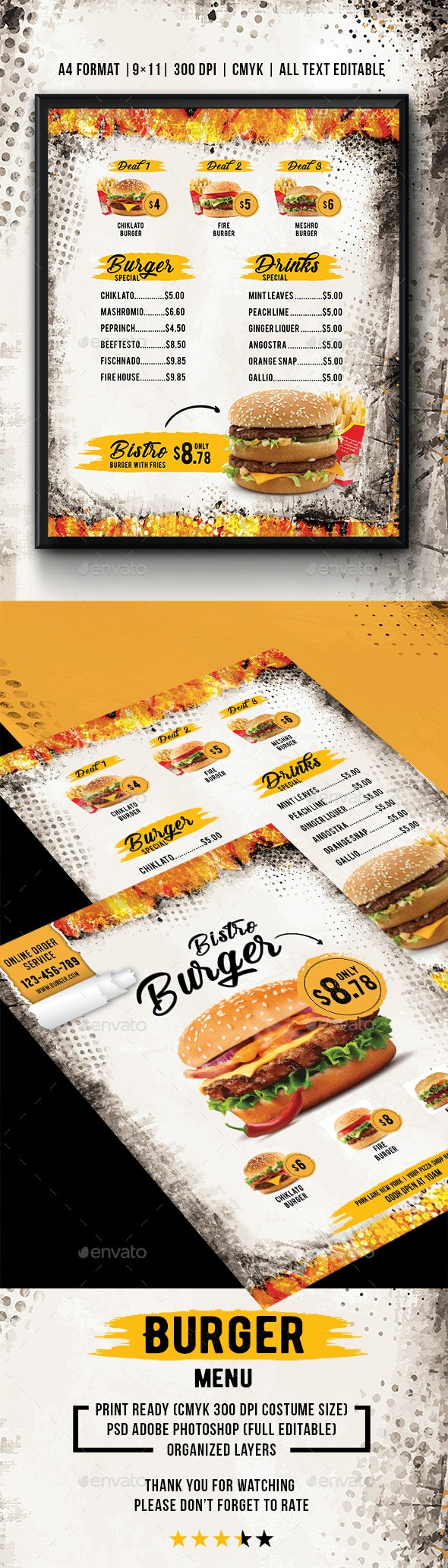 Food Menu Burger