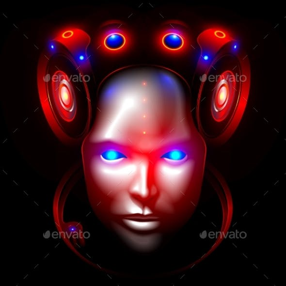 Robot Woman Face or Head Front View Artificial