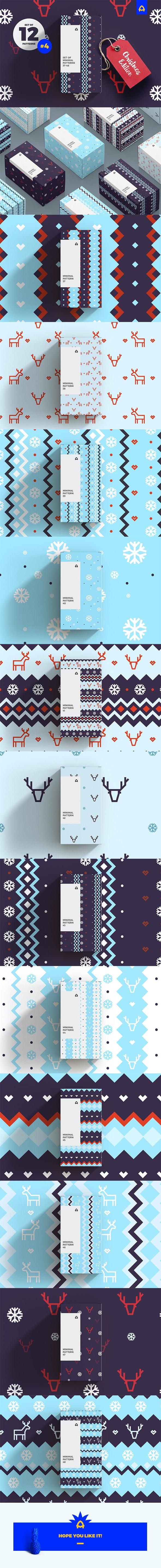 Set of Minimal Christmas Patterns vol. 2 - Textures / Fills / Patterns Illustrator