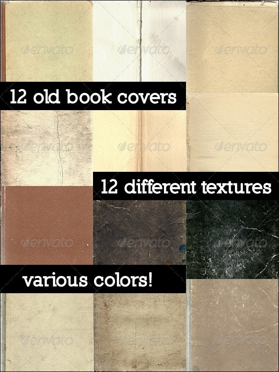 12 Old Book Covers - Paper Textures