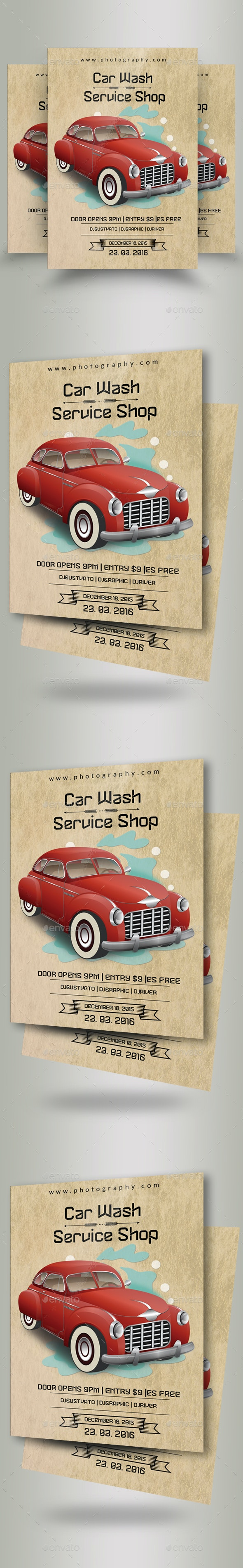 Vintage Car Wash Flyers - Flyers Print Templates