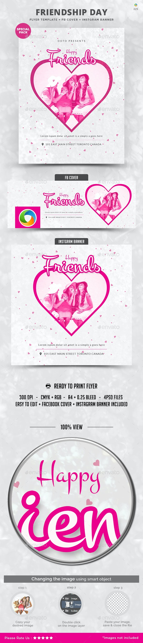 Friendship Day Special Pack - Flyer, FB Cover, Instagram Banner - Flyers Print Templates