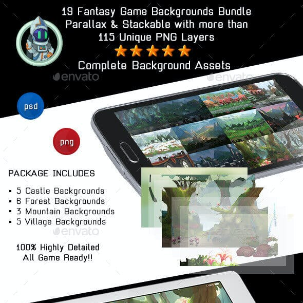 19 Fantasy 2D Game Background Bundle - Stackable and Parallax