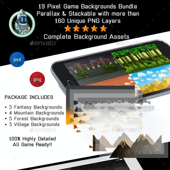 19 Pixel Game Backgrounds Bundle Kit - Forest, Mountain & Fantasy