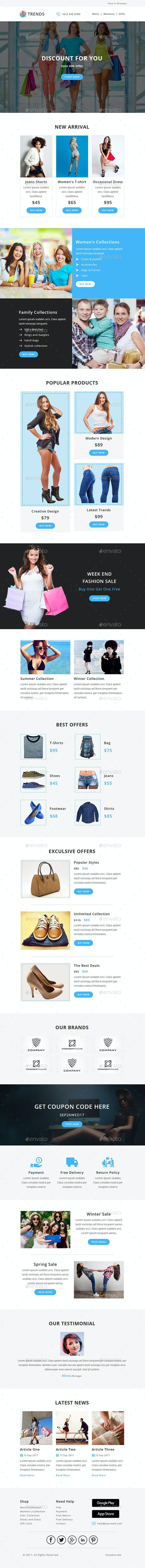 Trends - EMAIL PSD Template - E-newsletters Web Elements
