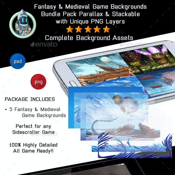 5 Fantasy and Medieval Game Backgrounds - Parallax & Stackable