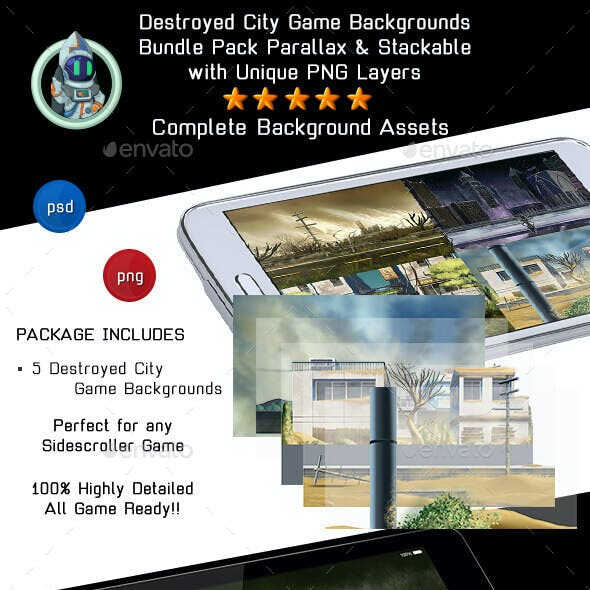 5 Destroyed City Game Backgrounds - Parallax & Stackable