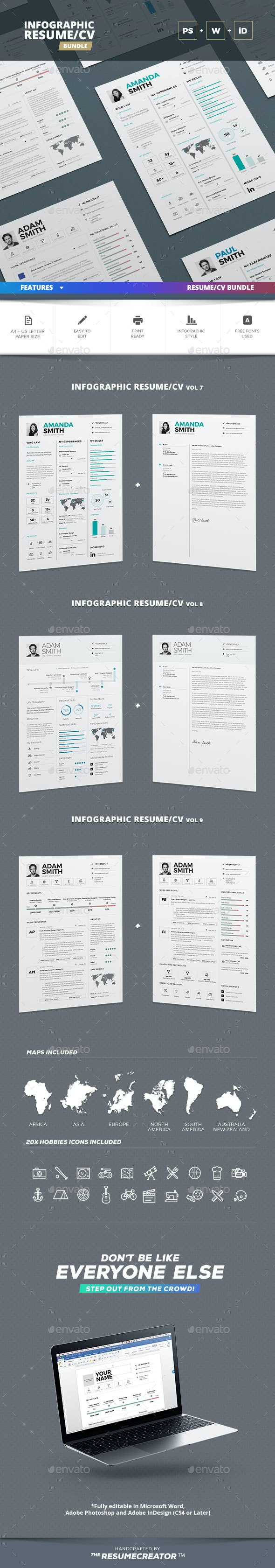 Infographic Resume/Cv Bundle Volume 2 - Resumes Stationery