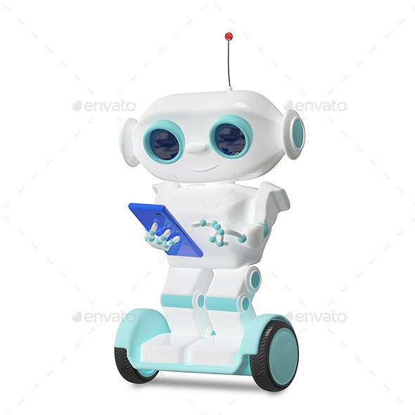 3D Illustration Robot on Scooter with Smartphone