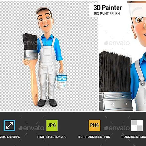 3D Painter Standing Next to Big Paint Brush