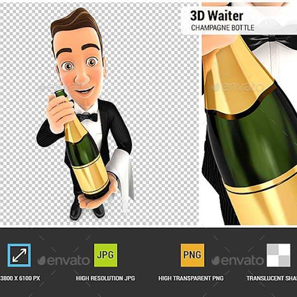 3D Waiter Holding Champagne Bottle